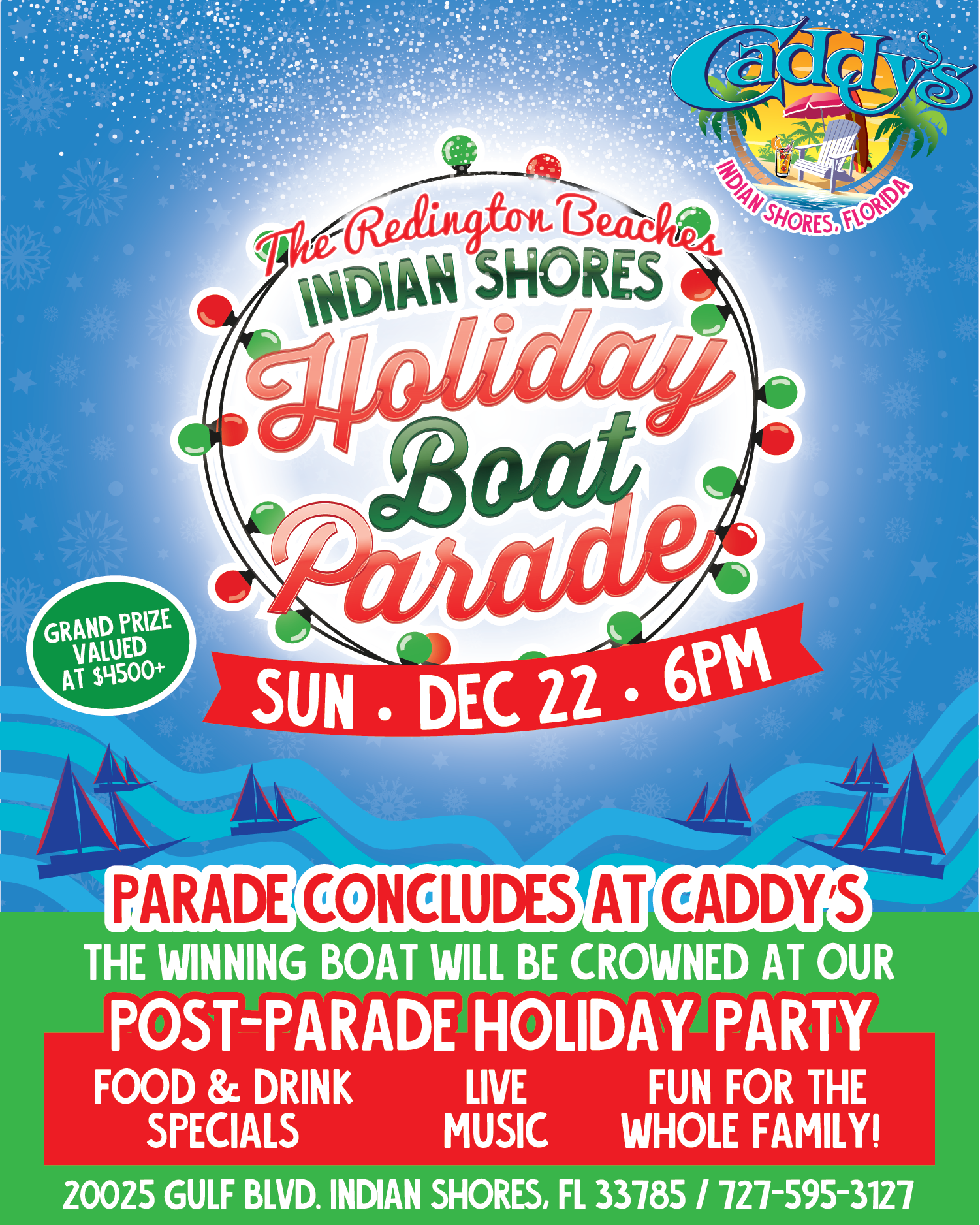 Boat parade flyer festive with date and Caddy's logo