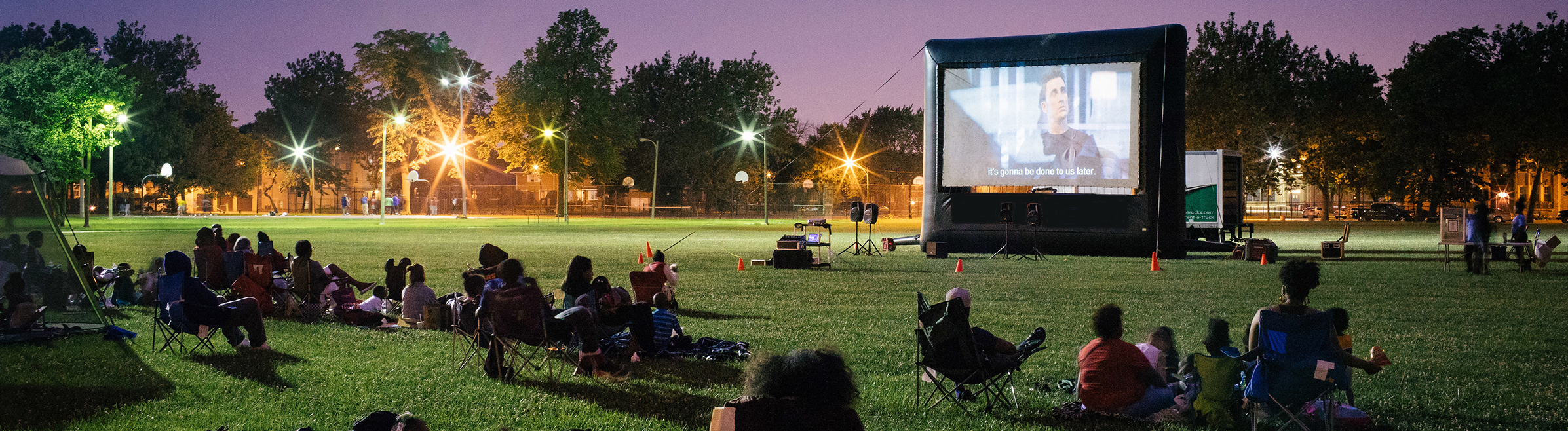 Watching movies in the park