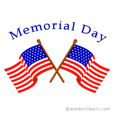 2 American flags and the words Memorial day