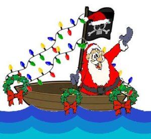 Santa in a decorated boat